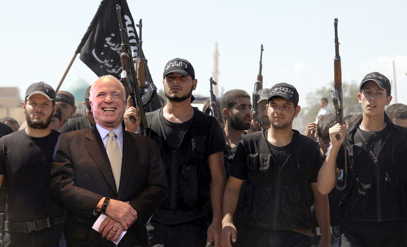 "Senator McCain with ""moderate"" Syrian Rebels"