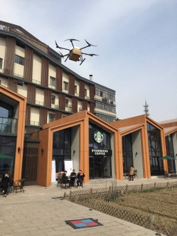 Drones deliver Starbucks