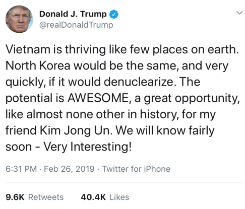 Trump praises Vietnam & its economy