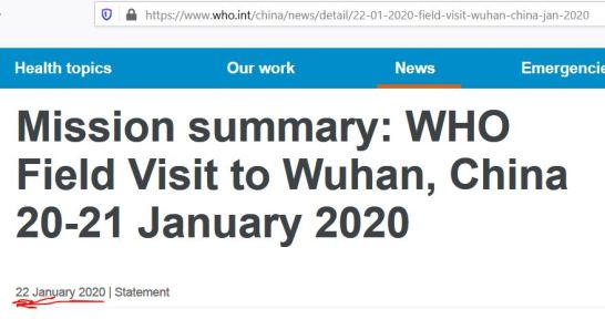 WHO visit Wuhan Jan 20-21